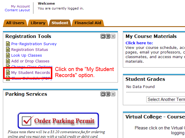 "Image showing to click on the ""My Student Records"" option."