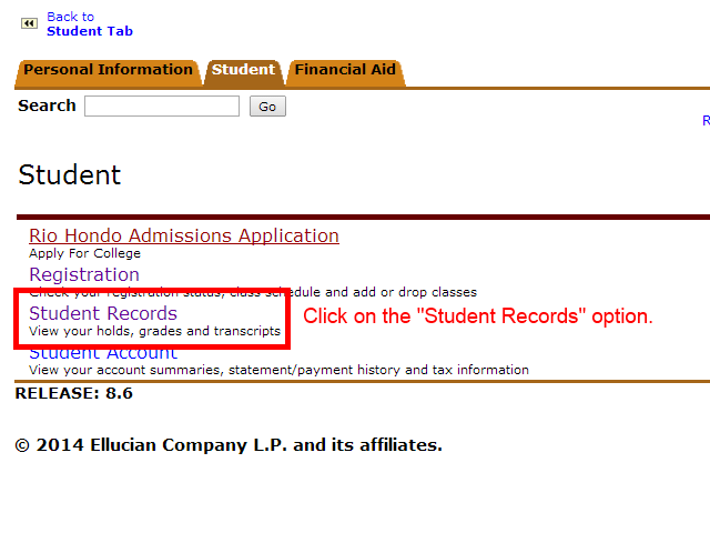 "Image showing to click on the ""Student Records"" option."