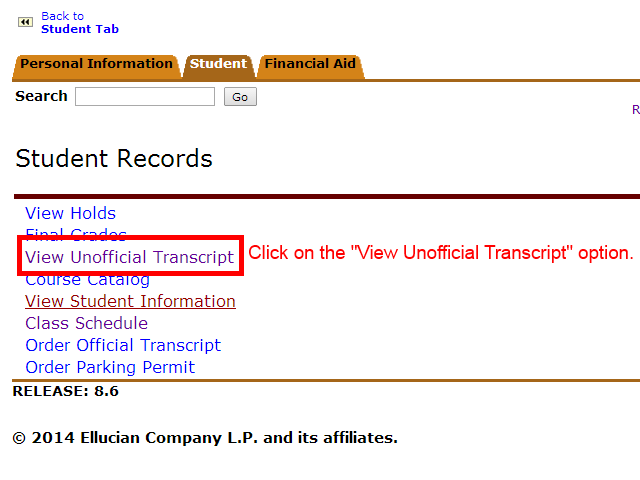 "Image showing to click on the ""View Unofficial Transcript"" option."