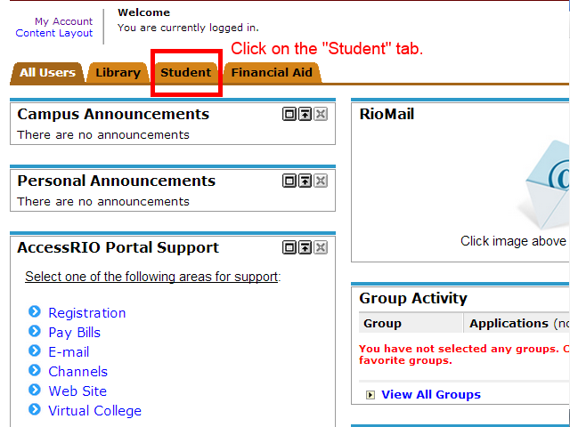 "Image showing to click on the ""Student"" tab."