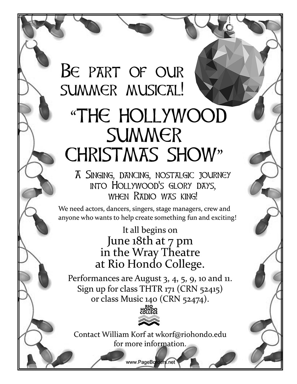 Audition Notice - The Hollywood summer christmas show