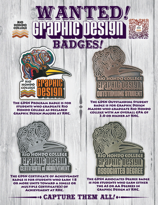 Rio Hondo Graphic Design Program Badges Flier