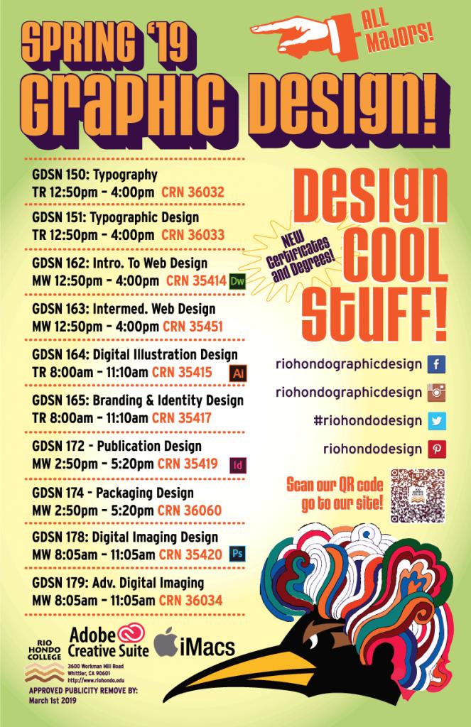 Rio Hondo College Spring 2019 Graphic Design Classes