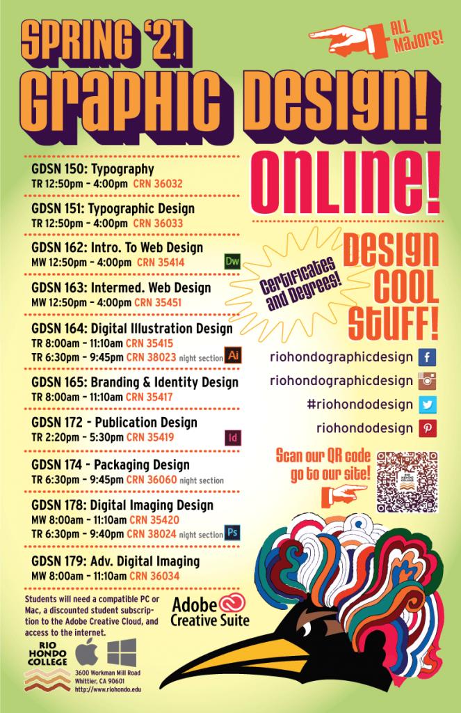 Spring 2021 graphic design schedule