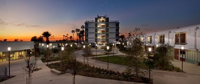 View of Rio Hondo College Quad at night