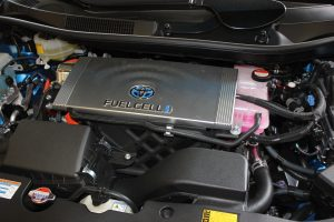 Automotive hood open displaying a fuel cell battery