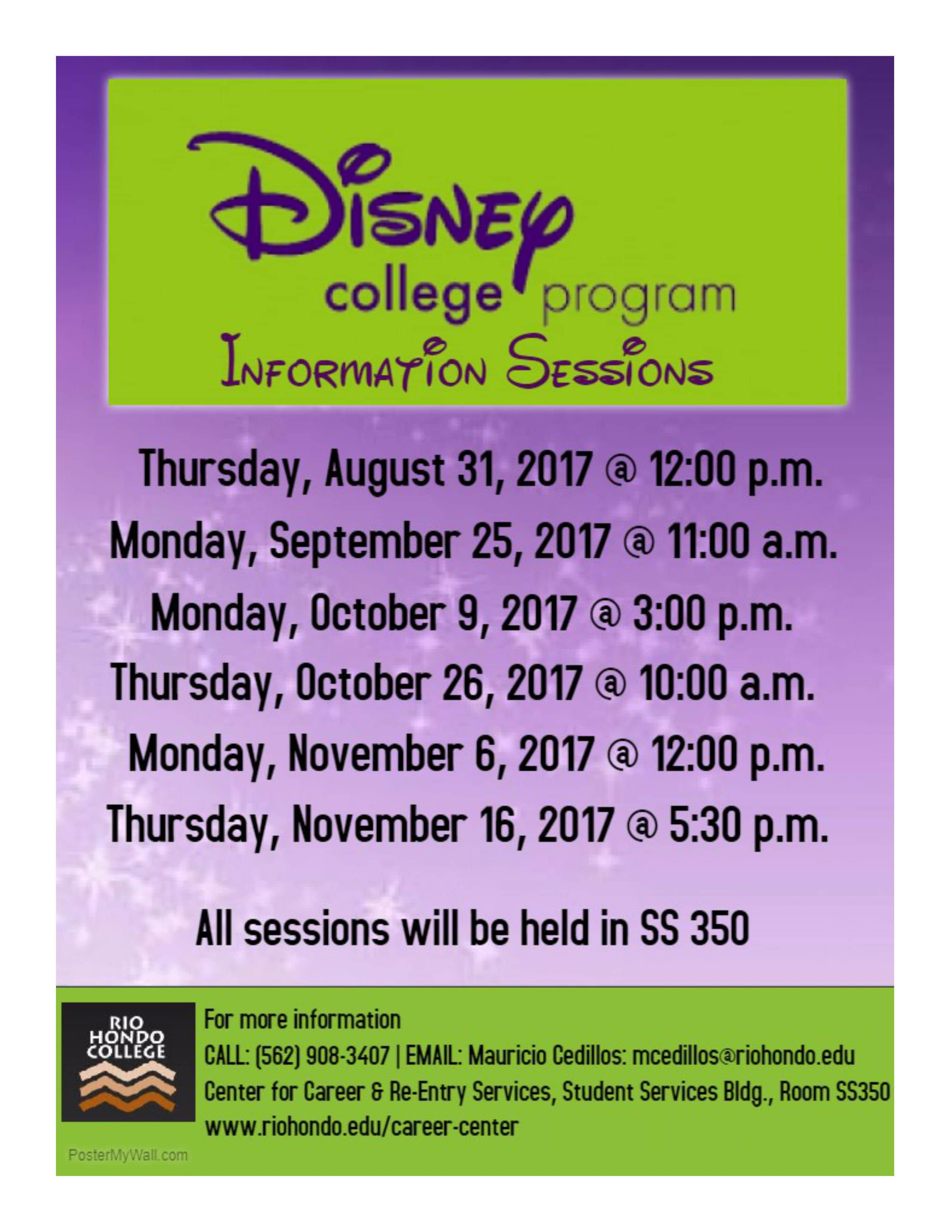 Disney Internship Information Session @ Rio Hondo College