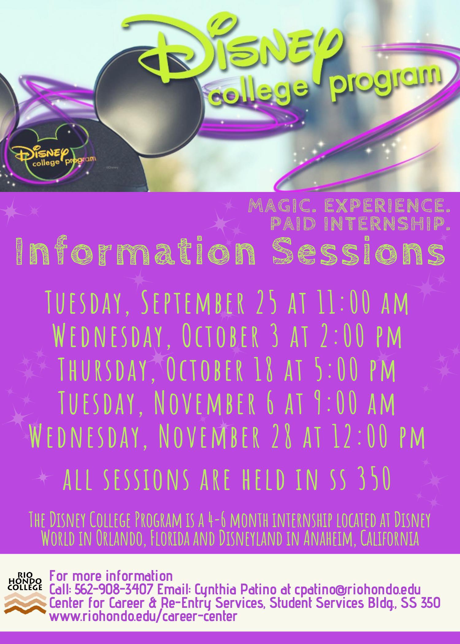 Disney Information Session @ Rio Hondo College  SS 350 | Whittier | California | United States