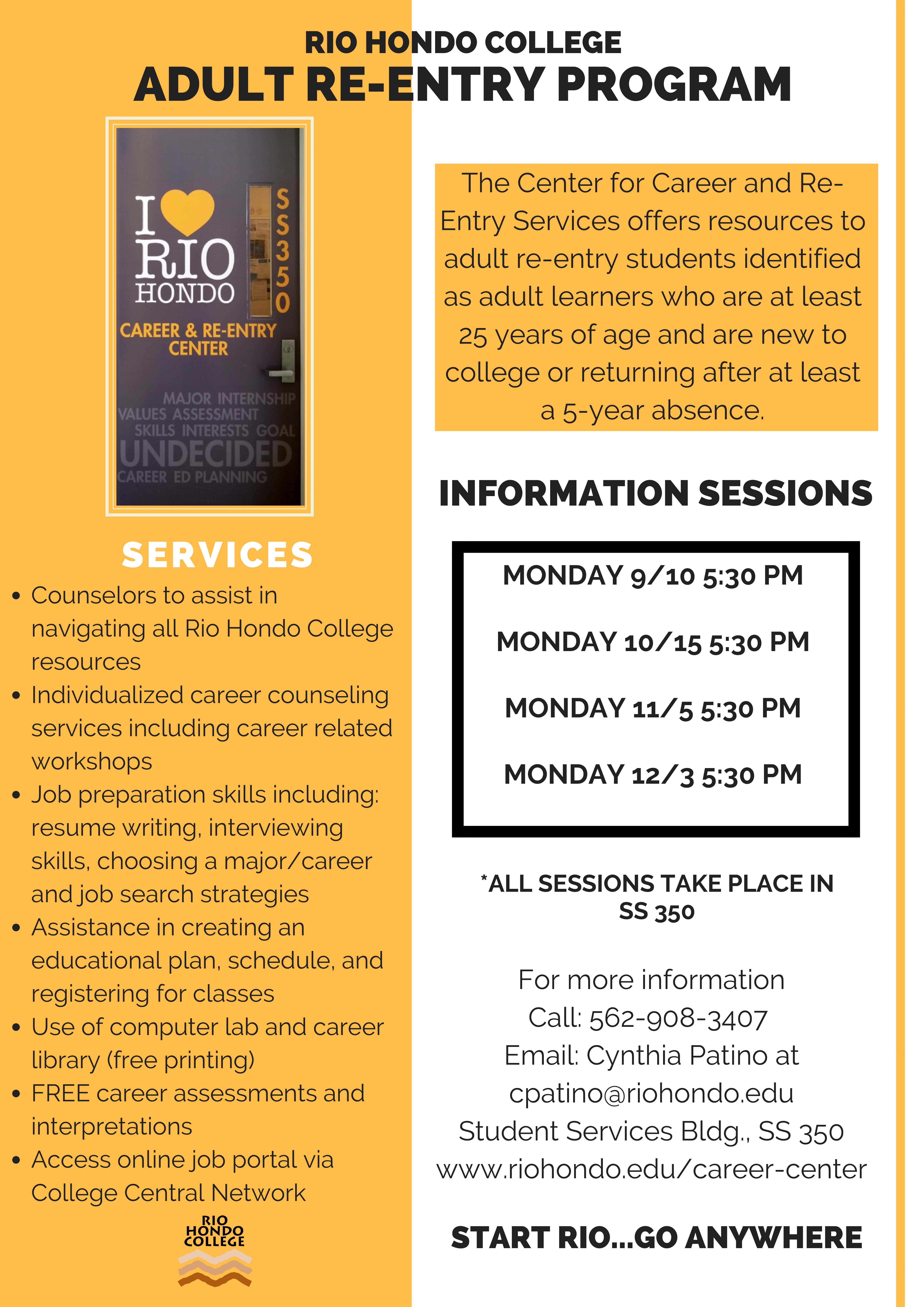 Adult Re-Entry Information Session @ Rio Hondo College  SS 350