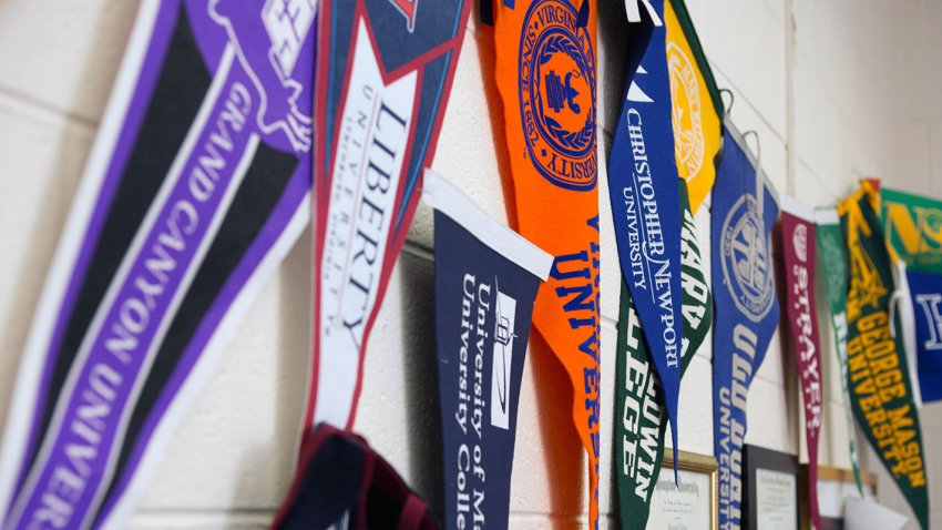 University felt pennants hanging on a wall