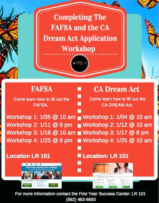 Ca Dream Act Workshops