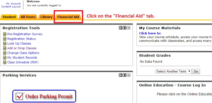 "Image showing to click on the ""Financial Aid"" tab."