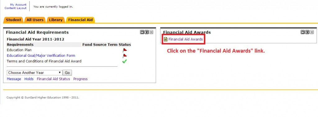 "Image showing to click on the ""Financial Aid Awards"" link."