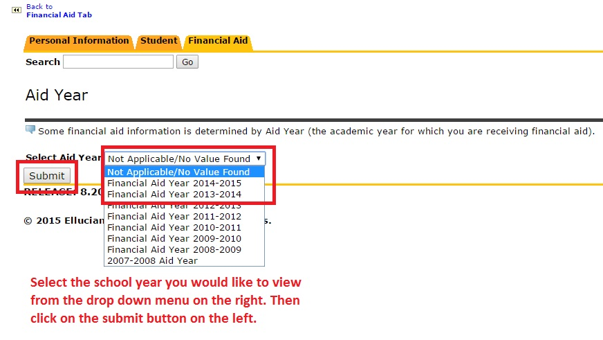 "Image showing to select the desired school year from the drop down menu, then to click the ""Submit"" button."