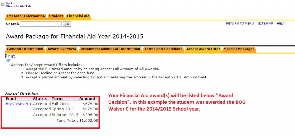 """Image showing to view Financial Aid awards below """"Award Decision"""""""