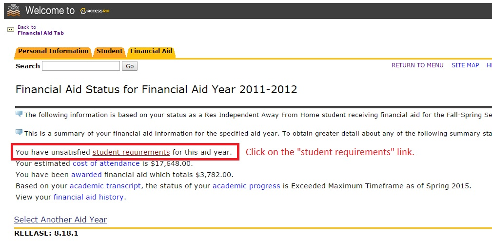 "Image showing to click on the ""student requirements"" link"