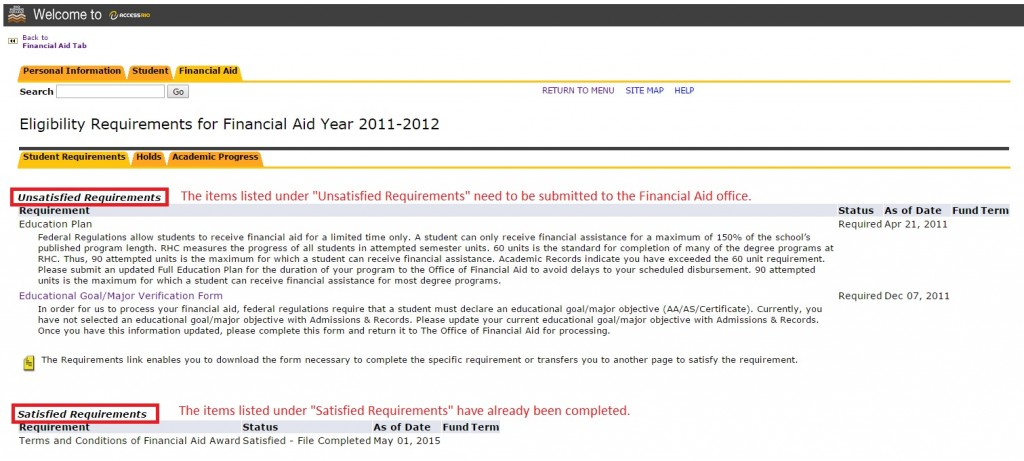 "Image showing items listed under ""Unsatisfied Requirements"" need to be submitted to the Financial Aid office."