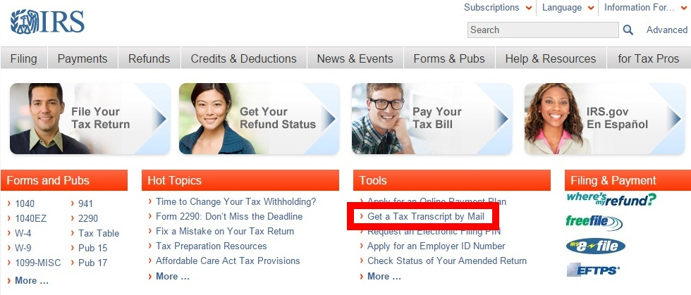 """Image showing to click on the """"Get a Tax Transcript by Mail"""" link"""