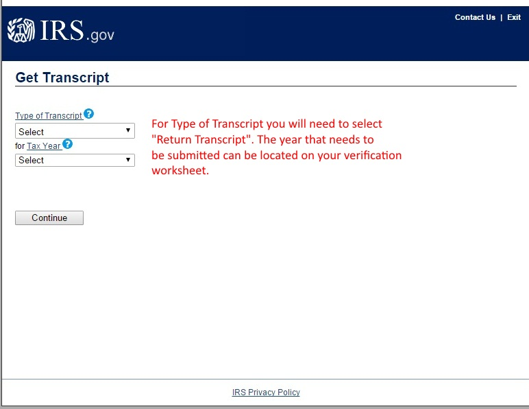 Image showing the order form for Tax Return transcripts on the IRS webpage