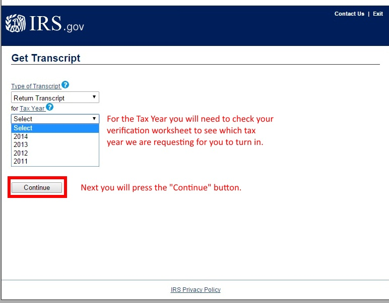 """Image showing to select the appropriate year you wish to order and then click the """"Continue"""" button."""