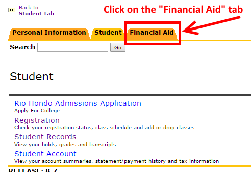 """Image showing to click on the """"Financial Aid"""" tab"""