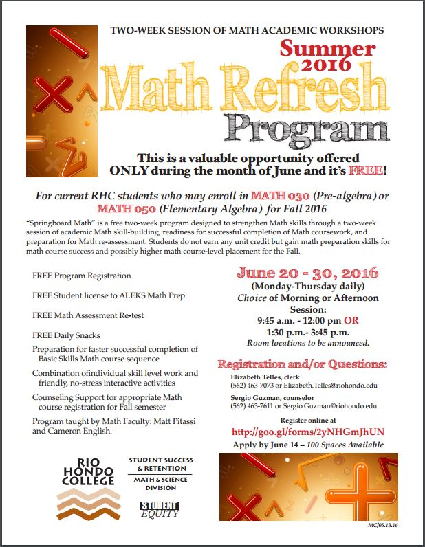 Sign up today for a Math Refresher!