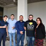 Group picture of mentee Jonathon Westerdale with mentors Luis Jacobo, Oscar Duran, David Belis and Cecilia Rocha outside LR building.