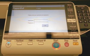Log in screen for Copy Machine