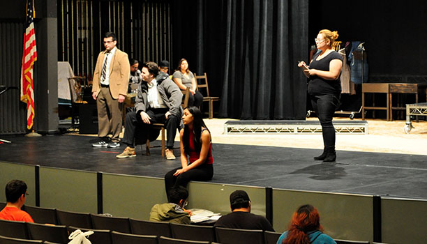 """Rio Hondo College students rehearse for the College's upcoming production of """"The Laramie Project,"""" which chronicles the aftermath of the killing of Matthew Shepard, a gay University of Wyoming student."""