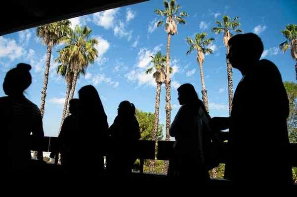 New students tour the campus during freshman orientation at Rio Hondo College in Whittier on Wednesday