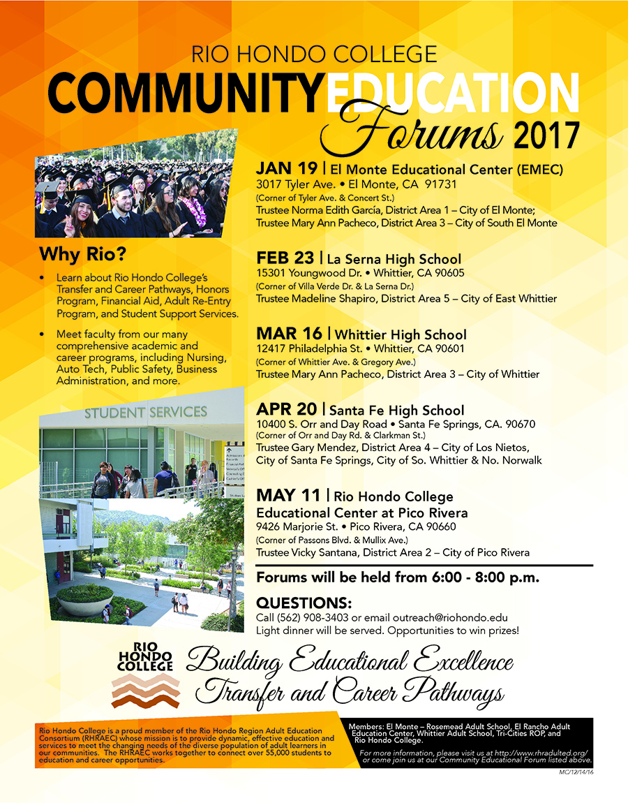 Rio Hondo College Community Education Forums 2017 Schedule | Marketing