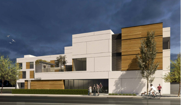A rendering is shown of a proposed 27-unit apartment complex for low-income Rio Hondo College students on the former site of the South Whittier Library