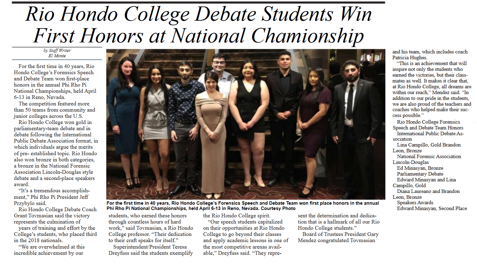 Mid Valley News coverage on debate students winning national championship