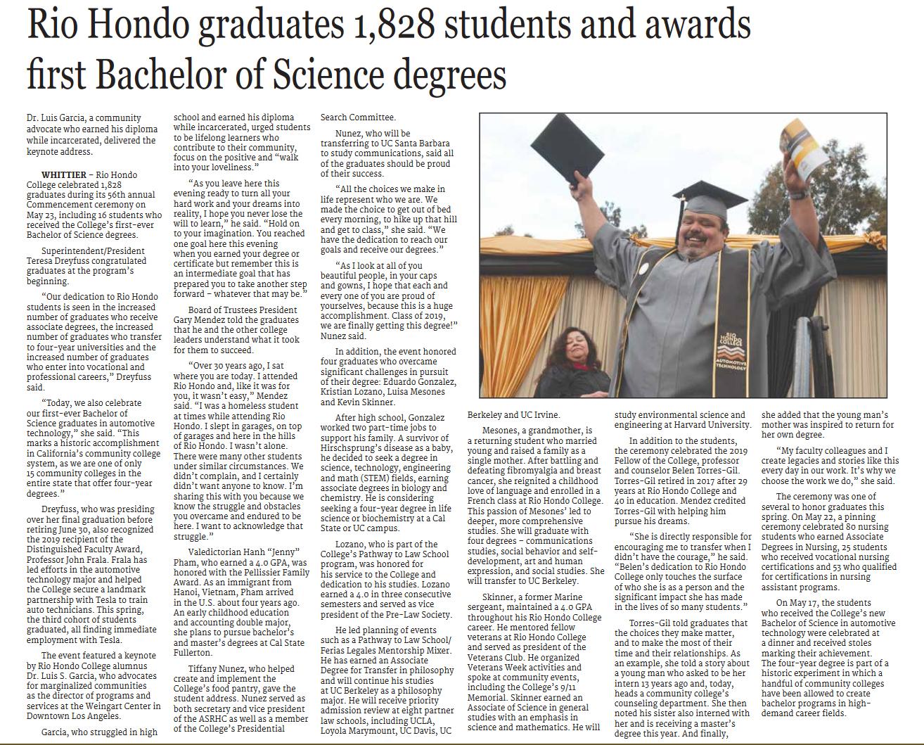 Norwalk Patriot covers RHC graduation 2019