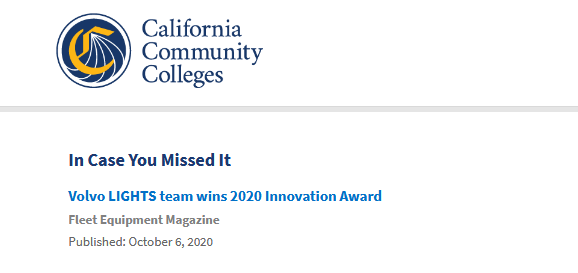 California Community Colleges Chancellor's Office highlights Volvo LIGHTS 2020 Innovation Award