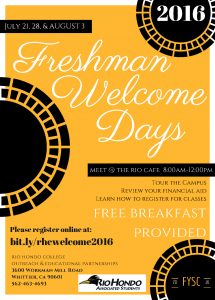 Freshman Welcome Days @ Meet at Rio Cafe