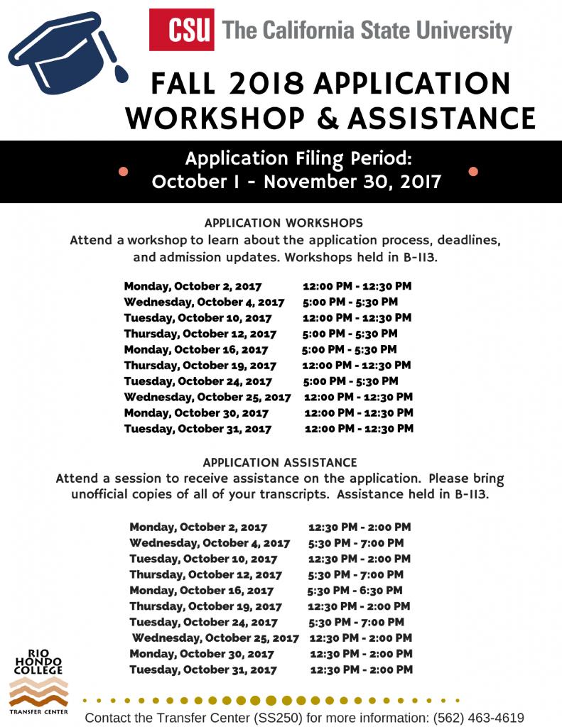 Cal State Application Workshops