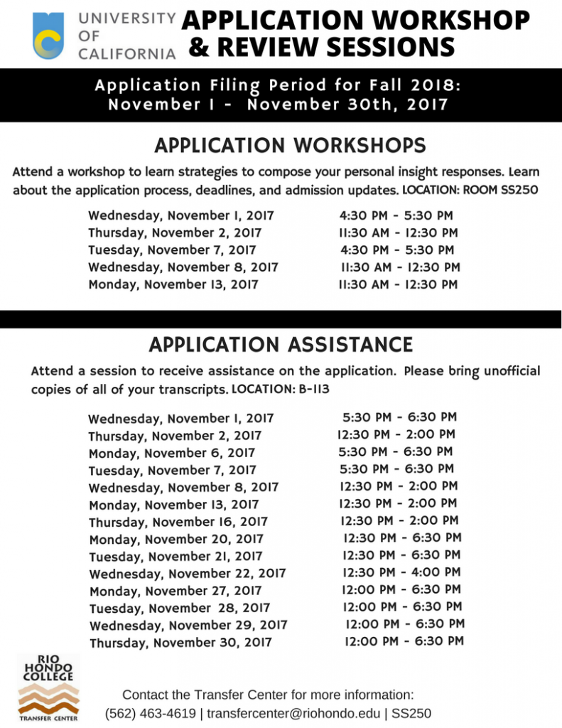 University of California application workshop flyer