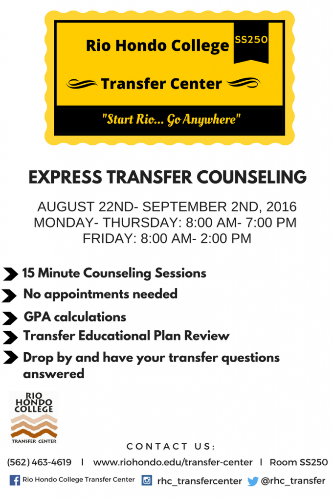 Transfer Center Express Counseling Flyer