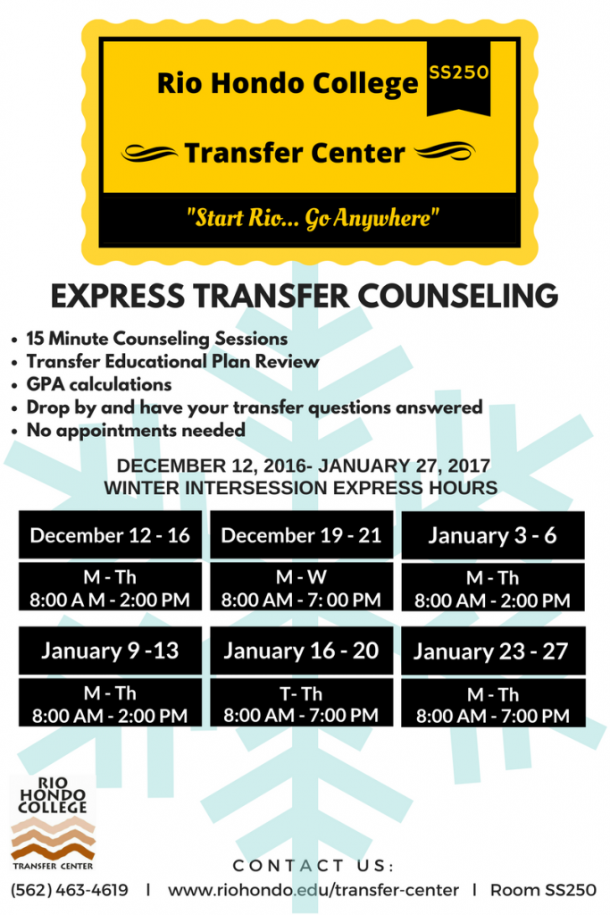 Express Counseling Winter Hours