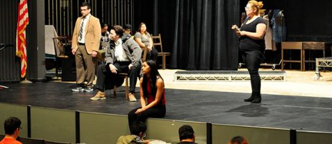 "Rio Hondo College students rehearse for the College's upcoming production of ""The Laramie Project,"" which chronicles the aftermath of the killing of Matthew Shepard, a gay University of Wyoming student"