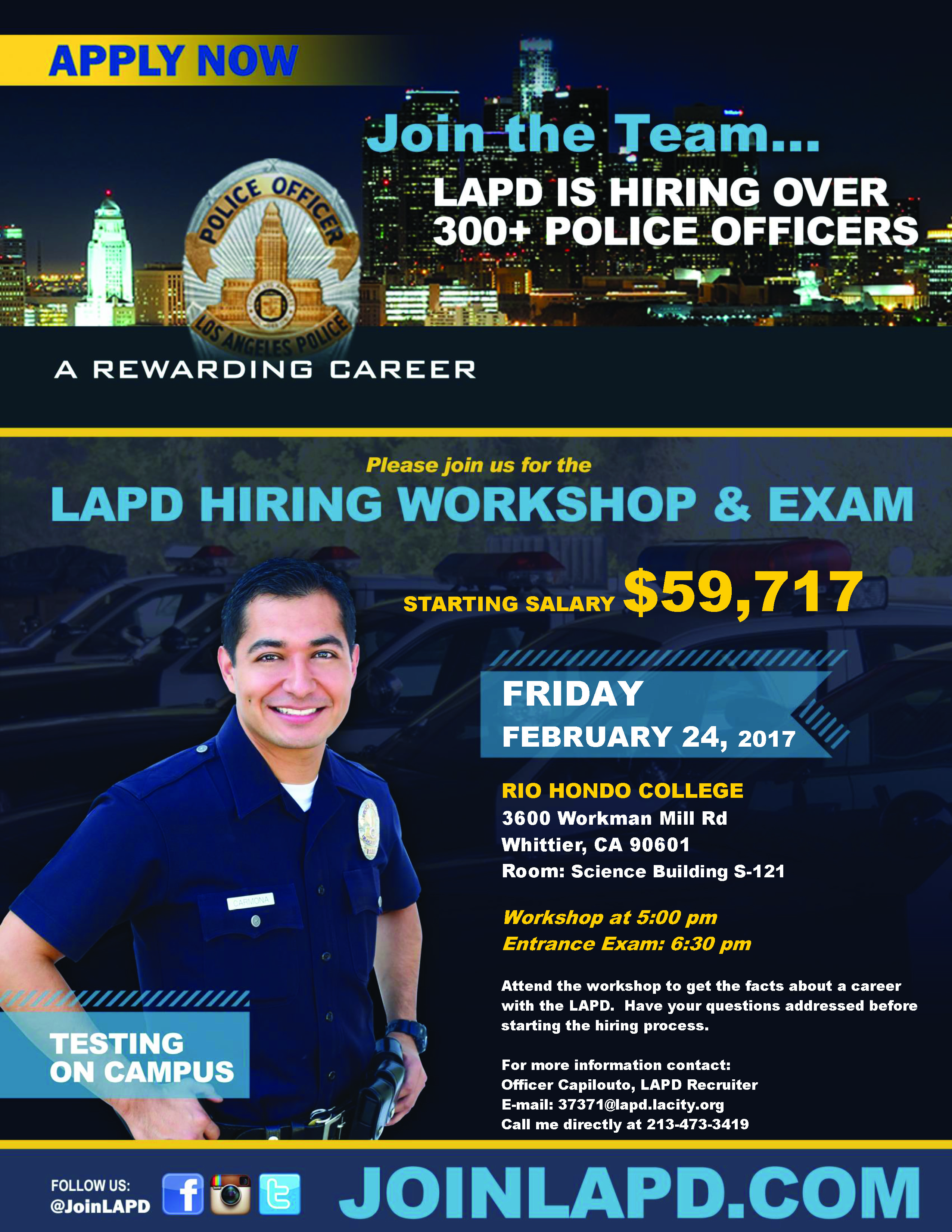 Santa Fe College Calendar >> LAPD Hiring Workshop & Exam | Rio Hondo College
