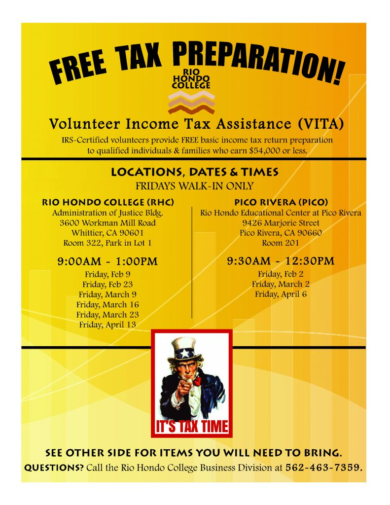 Free Tax Preparation (Main Campus) @ Administration of Justice Building | Whittier | California | United States